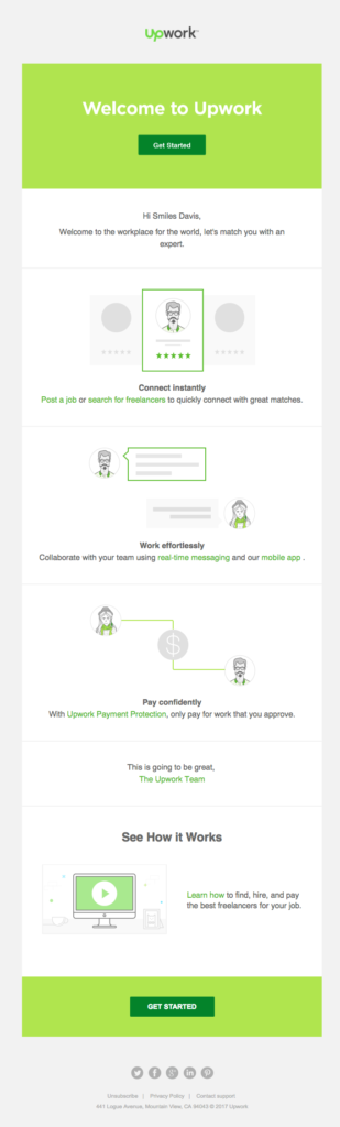 Upwork welcome email example