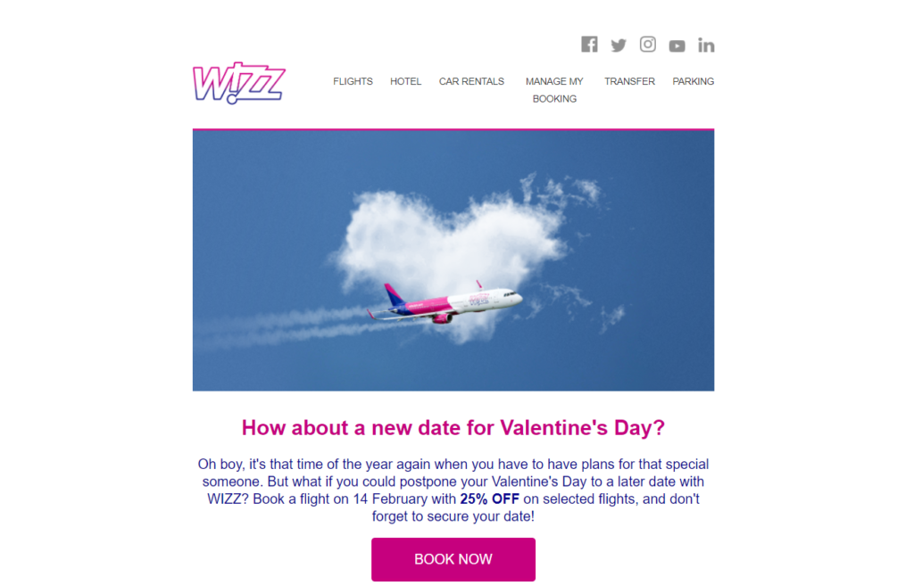 Wizzair send an email to inform their customers about a 25% off in a limited time email template